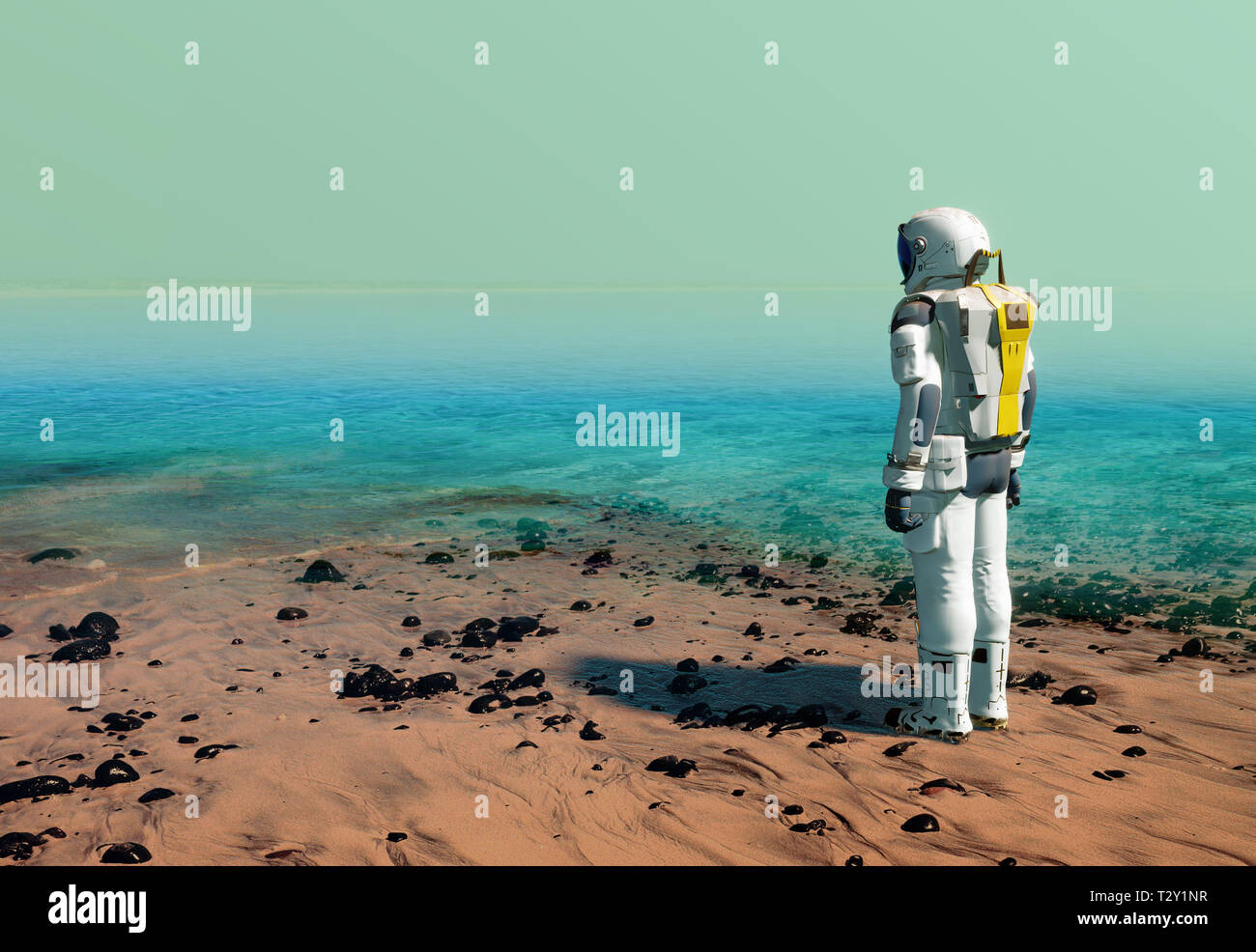 Astronaut at the beach of artificial water reservoir, lake, wearing a space suit on Mars or another planet after terraforming. 3D illustration Stock Photo