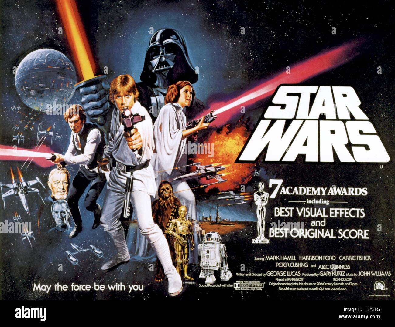 PETER CUSHING, ALEC GUINNESS, HARRISON FORD, MARK HAMILL, DAVID PROWSE, PETER MAYHEW, ANTHONY DANIELS, KENNY BAKER, CARRIE FISHER POSTER - Stock Image