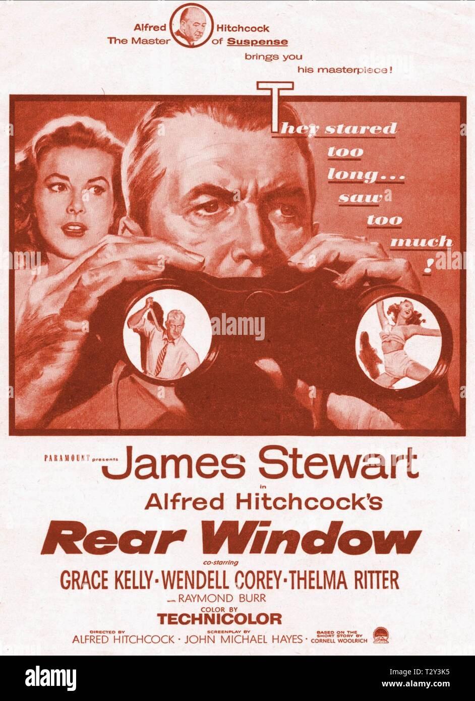 GRACE KELLY, JAMES STEWART POSTER, REAR WINDOW, 1954 - Stock Image