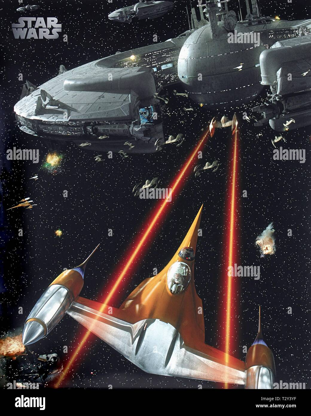 Naboo N 1 Starfighter Lucrehulk Class Droid Control Ship Film Artwork Star Wars Episode Ii Attack Of The Clones 2002 Stock Photo Alamy