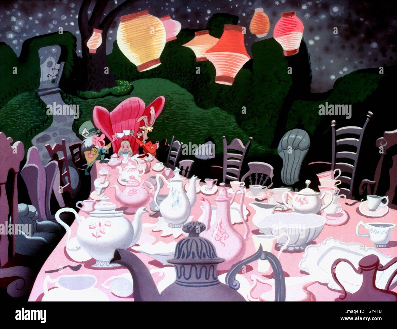 MAD HATTER, ALICE, MARCH HARE, ALICE IN WONDERLAND, 1951 - Stock Image