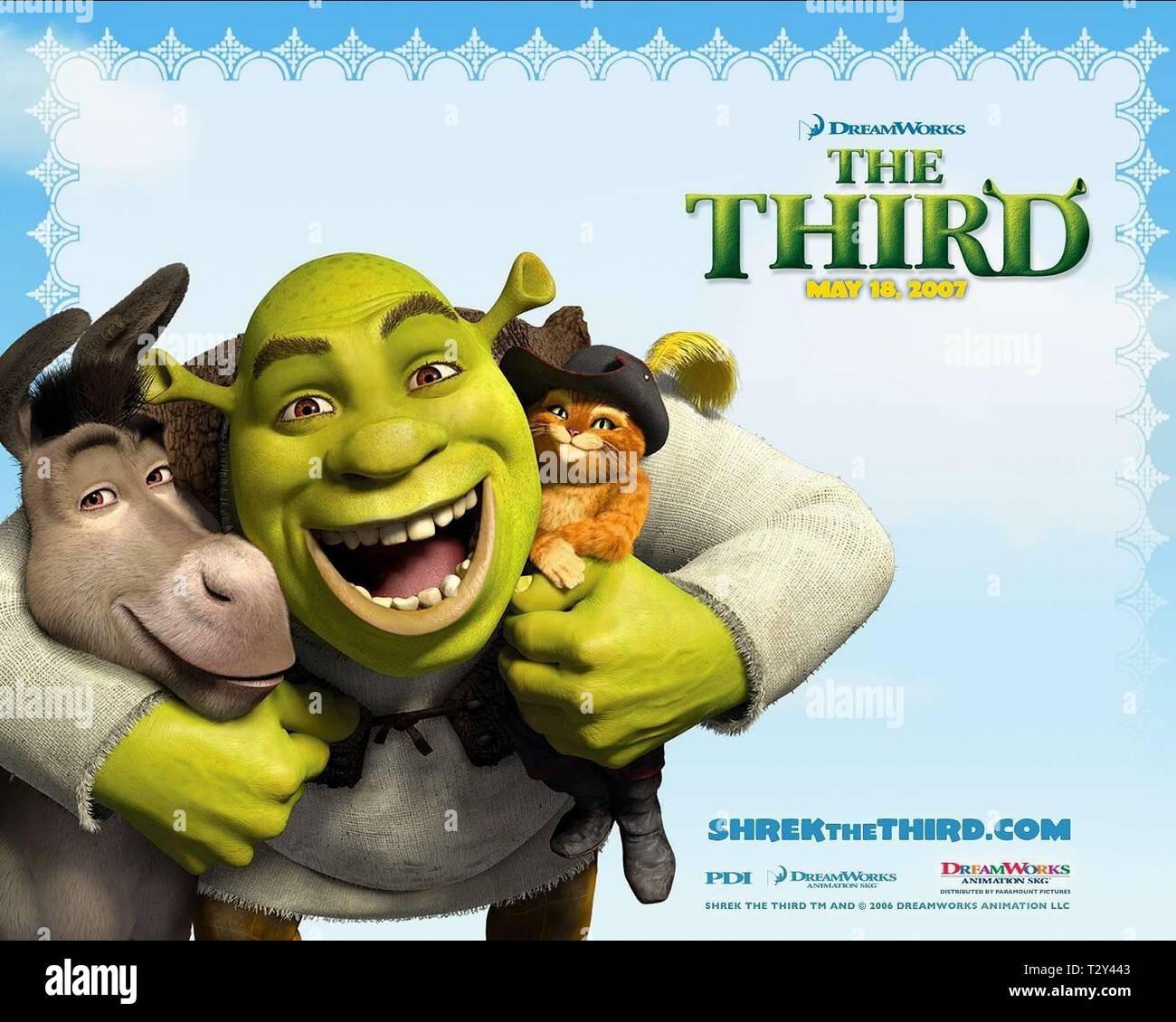 Donkey Shrek Puss In Boots Poster Shrek The Third 2007 Stock Photo Alamy