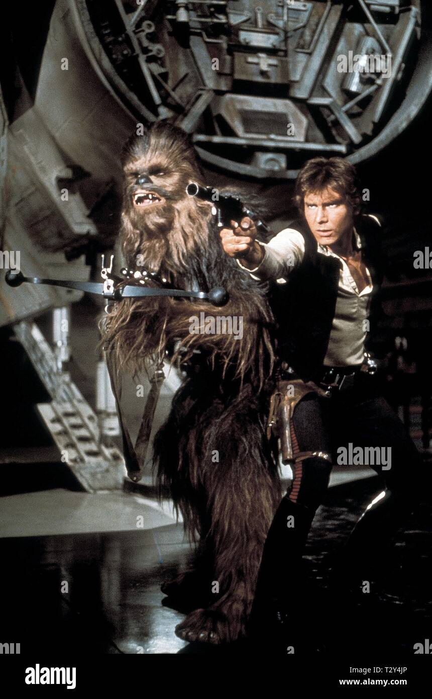 PETER MAYHEW, HARRISON FORD, STAR WARS: EPISODE IV - A NEW HOPE, 1977 Stock Photo