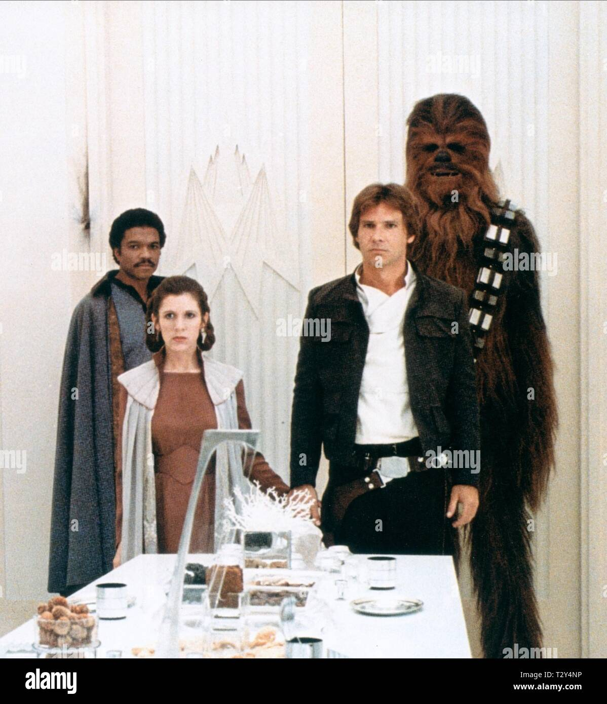 STAR WARS: EPISODE V - THE EMPIRE STRIKES BACK, BILLY DEE WILLIAMS, CARRIE FISHER, HARRISON FORD , PETER MAYHEW, 1980 - Stock Image