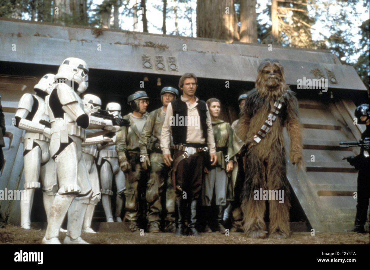 STAR WARS: EPISODE VI - RETURN OF THE JEDI, HARRISON FORD, CARRIE FISHER , PETER MAYHEW, 1983 - Stock Image