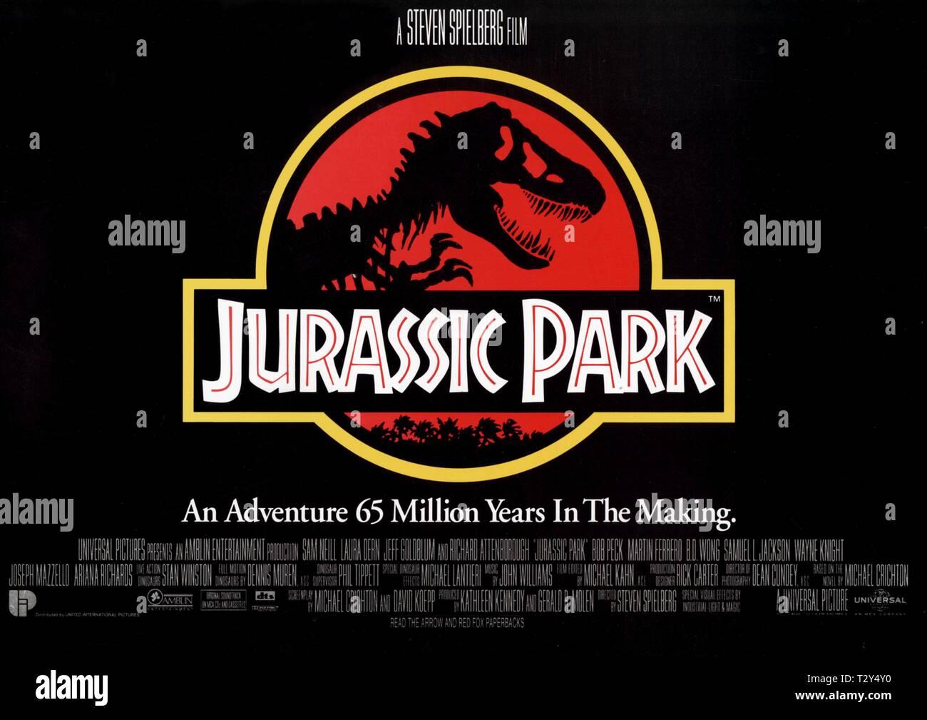 FILM POSTER, JURASSIC PARK, 1993 - Stock Image