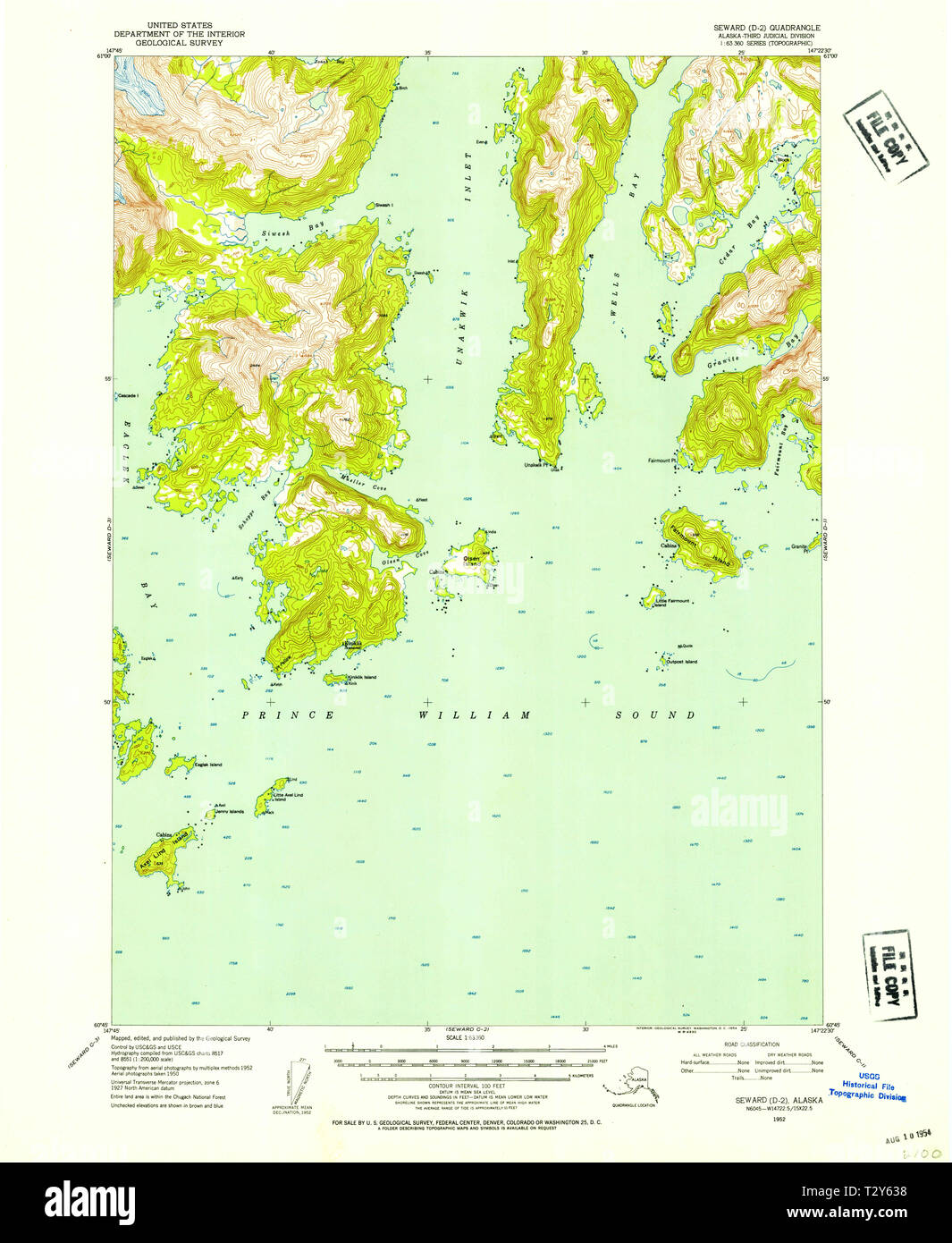 USGS TOPO Map Alaska AK Seward D-2 358985 1952 63360 Restoration ...
