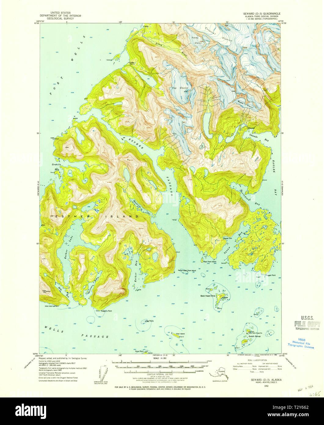 USGS TOPO Map Alaska AK Seward D-3 358992 1952 63360 Restoration ...