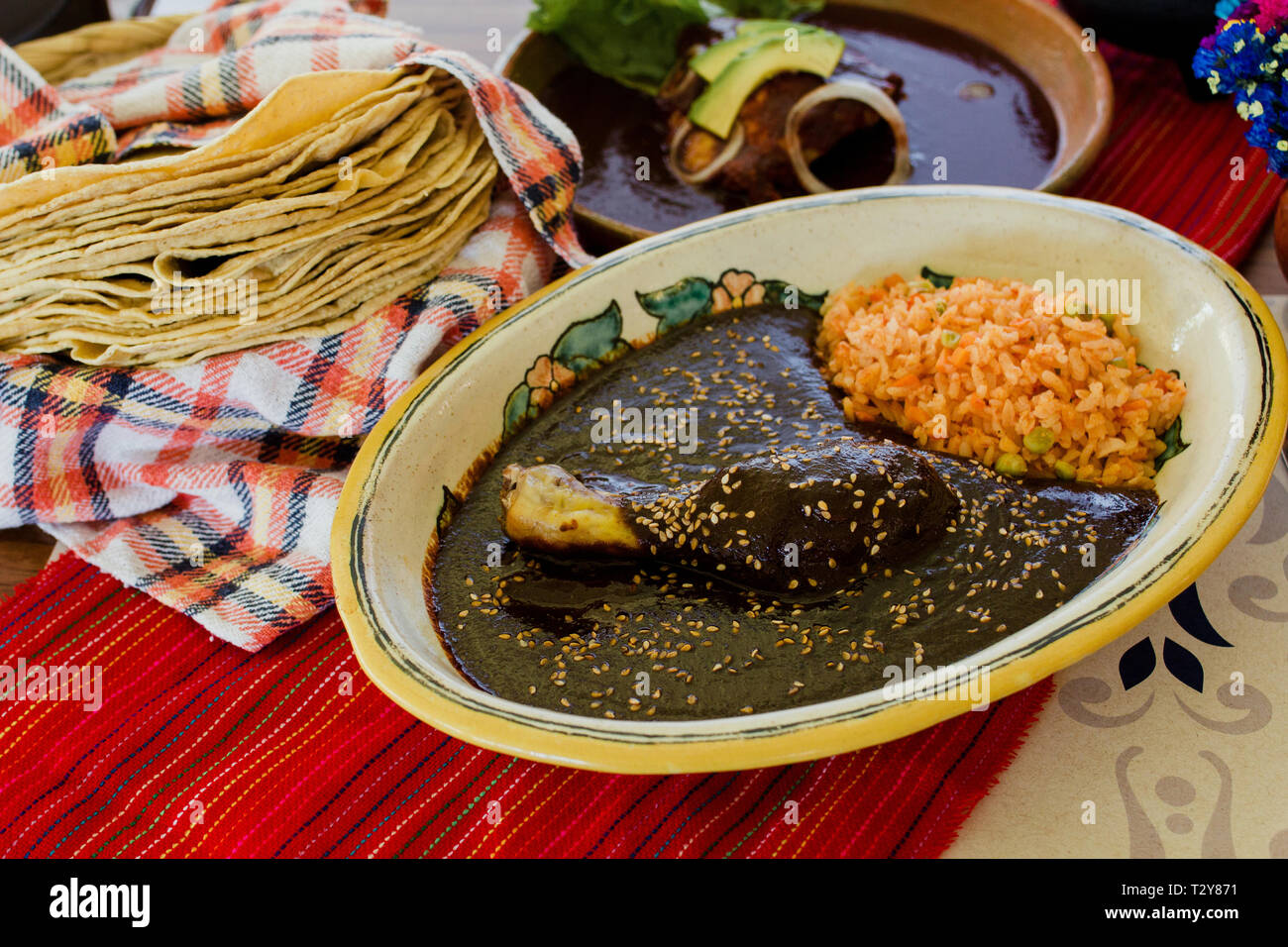 Mole Poblano Traditional Mexican Food with Chicken in Mexico Stock Photo