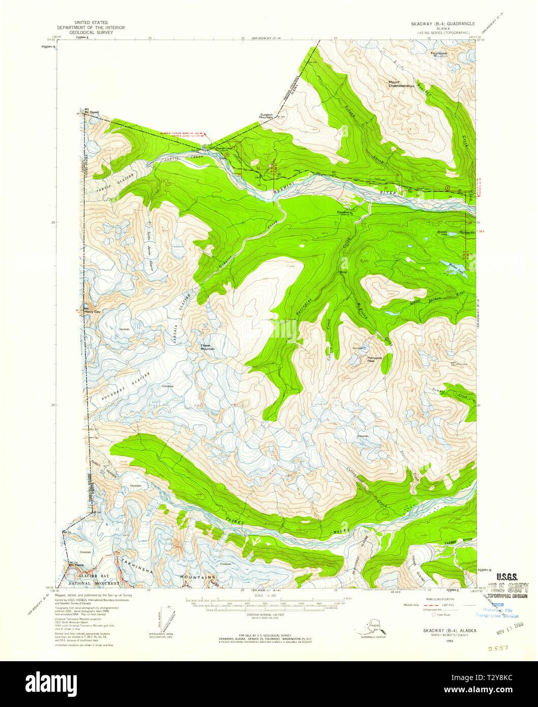 USGS TOPO Map Alaska AK Skagway B-4 359215 1954 63360 ...