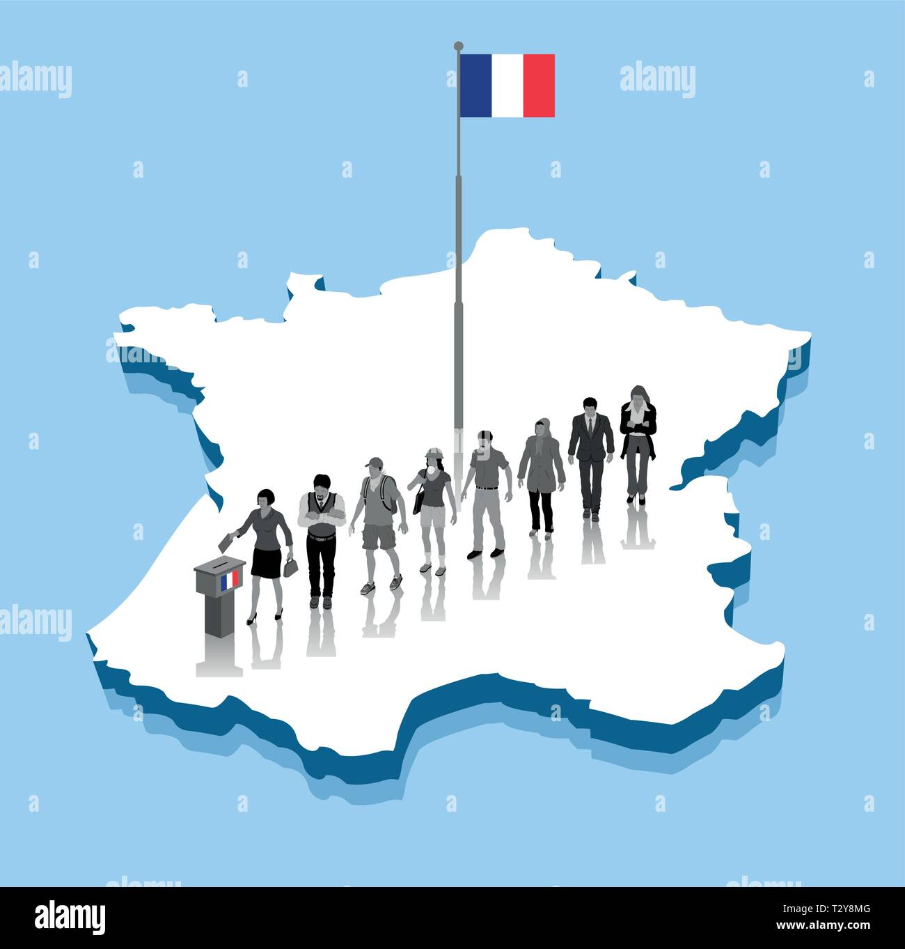 French citizens are voting for election over a France 3D map with flagpole. All the objects, shadows and background are in different layers. - Stock Vector