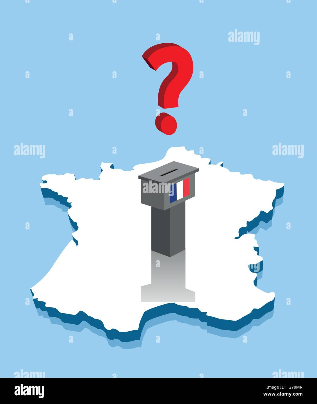 Map Of France Voting.French Election Results With Question Mark And Voting Ballot Over