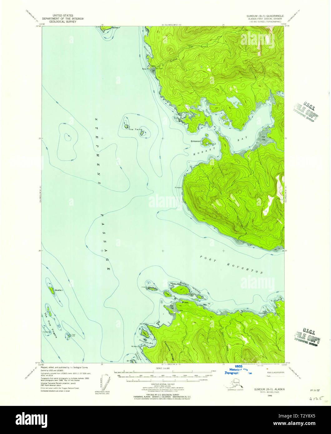 USGS TOPO Map Alaska AK Sumdum B-5 359379 1948 63360 Restoration ...