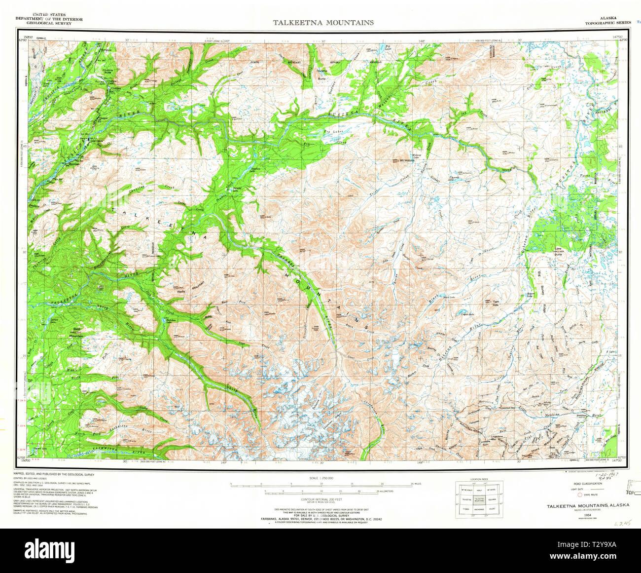 USGS TOPO Map Alaska AK Talkeetna Mountains 361515 1954 ...