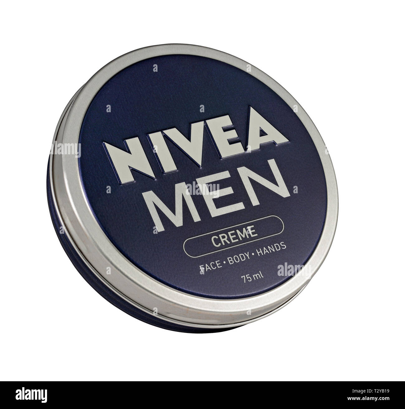 A Tin of Nivea Men face, body and hand cream / creme isolated on a white background - Stock Image