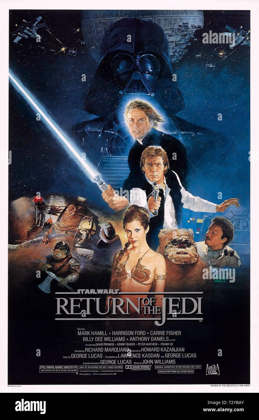 MARK HAMILL, HARRISON FORD, CARRIE FISHER, BILLY DEE WILLIAMS POSTER, STAR WARS: EPISODE VI - RETURN OF THE JEDI, 1983 - Stock Image