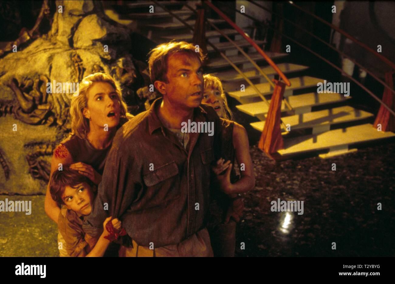 JURASSIC PARK, JOSEPH MAZZELLO, LAURA DERN, SAM NEILL , ARIANA RICHARDS, 1993 - Stock Image