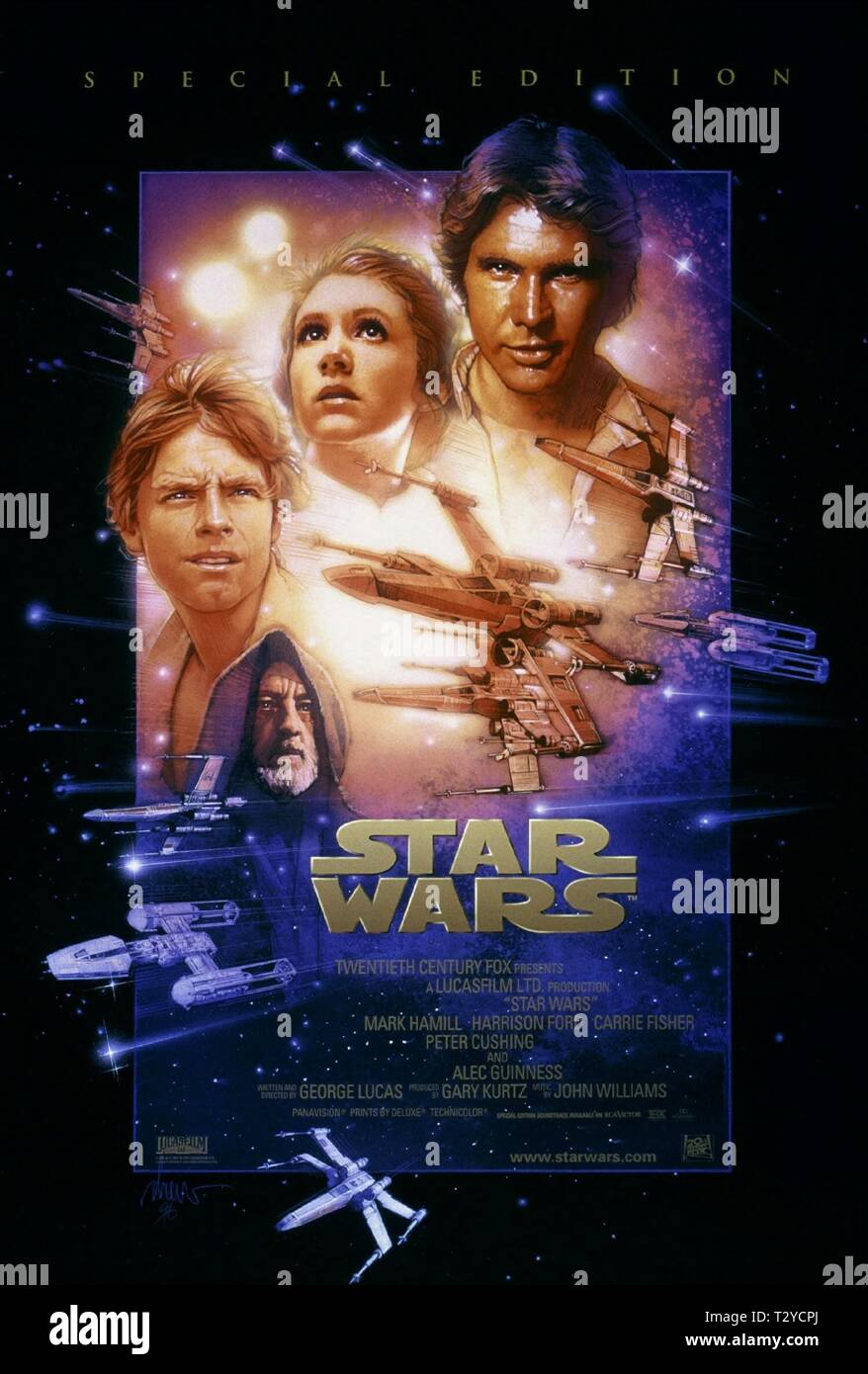 STAR WARS, MARK HAMILL, ALEC GUINNESS, CARRIE FISHER , HARRISON FORD POSTER, 1977 - Stock Image