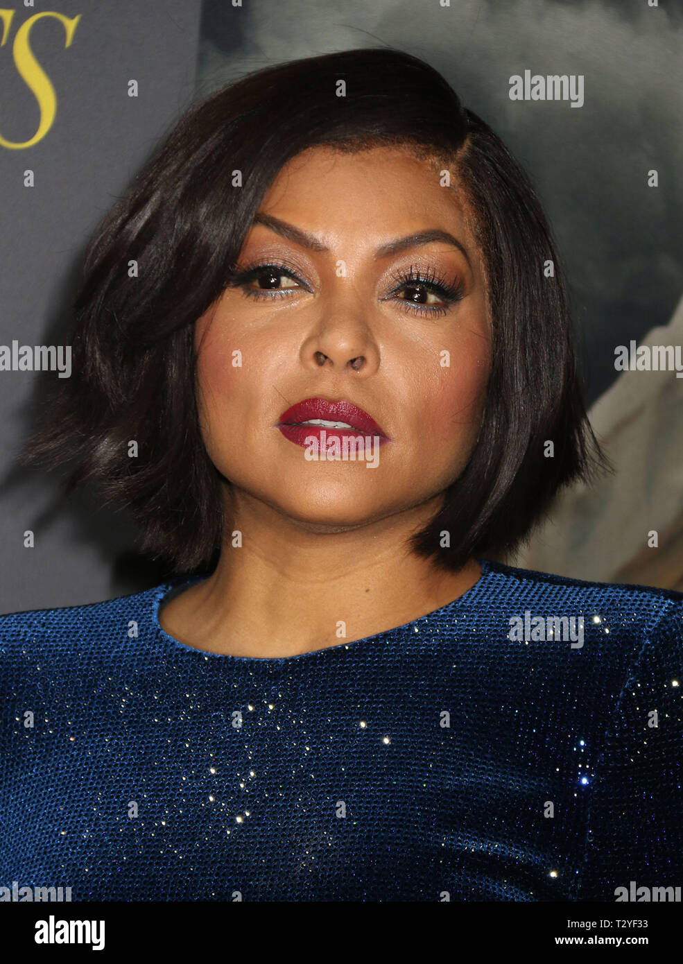 April 4, 2019 - New York City, New York, U.S. - Actress TARAJI P. HENSON attends the New York premiere of 'The Best of Enemies' held at AMC Loews Lincoln Square. (Credit Image: © Nancy Kaszerman/ZUMA Wire) Stock Photo