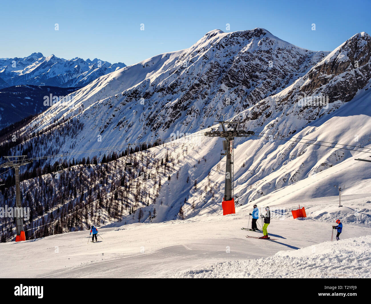 Wintersports at hillstation Alpjoch, skiing area Hochimst, Imst, Tyrol, Austria, Europe Stock Photo