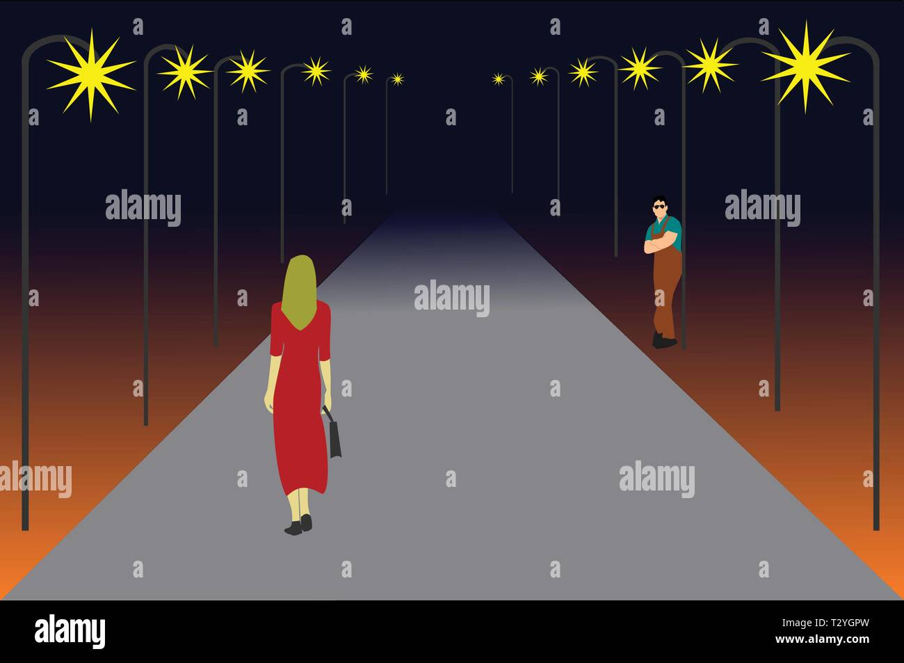 Women are walking on a lonely road. There are men looking at her ,black background - Stock Vector