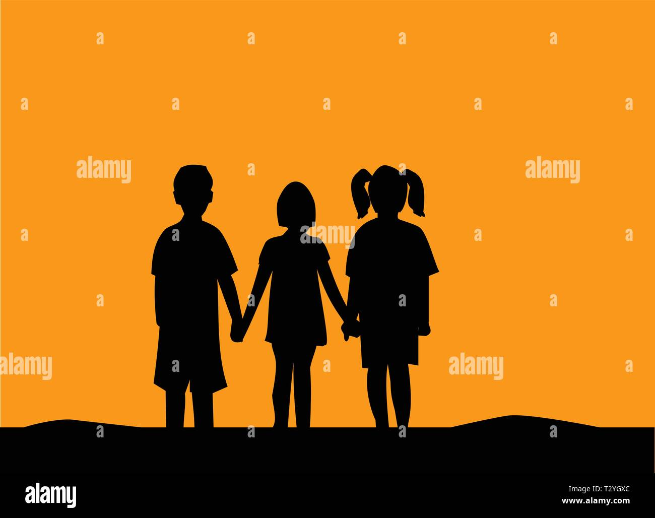 Silhouette of three children friendship at sunset.People friendship silhouette - Stock Vector