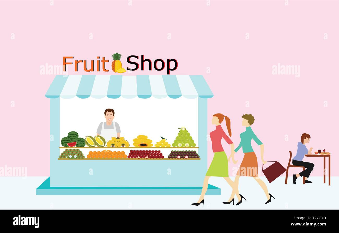 Merchants selling fruit are standing in the fruit shop. There are people walking through and having a pink background. - Stock Vector