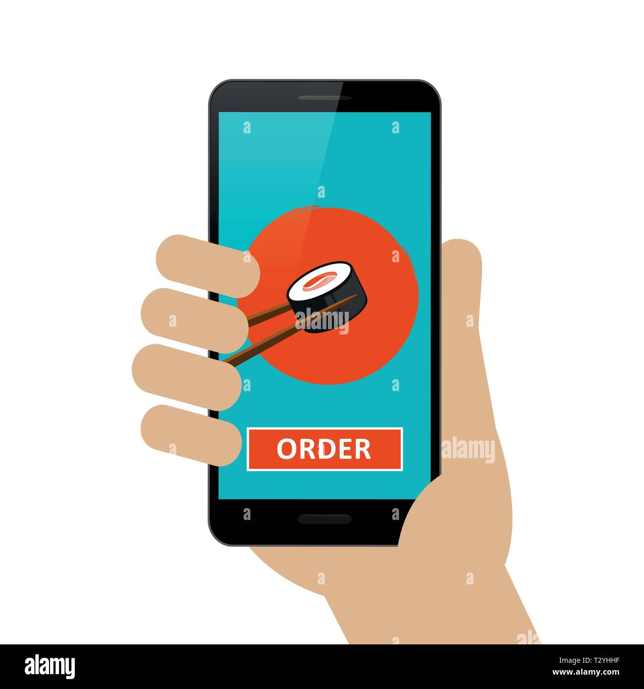 person ordered sushi online via smartphone isolated on white background vector illustration EPS10 - Stock Image