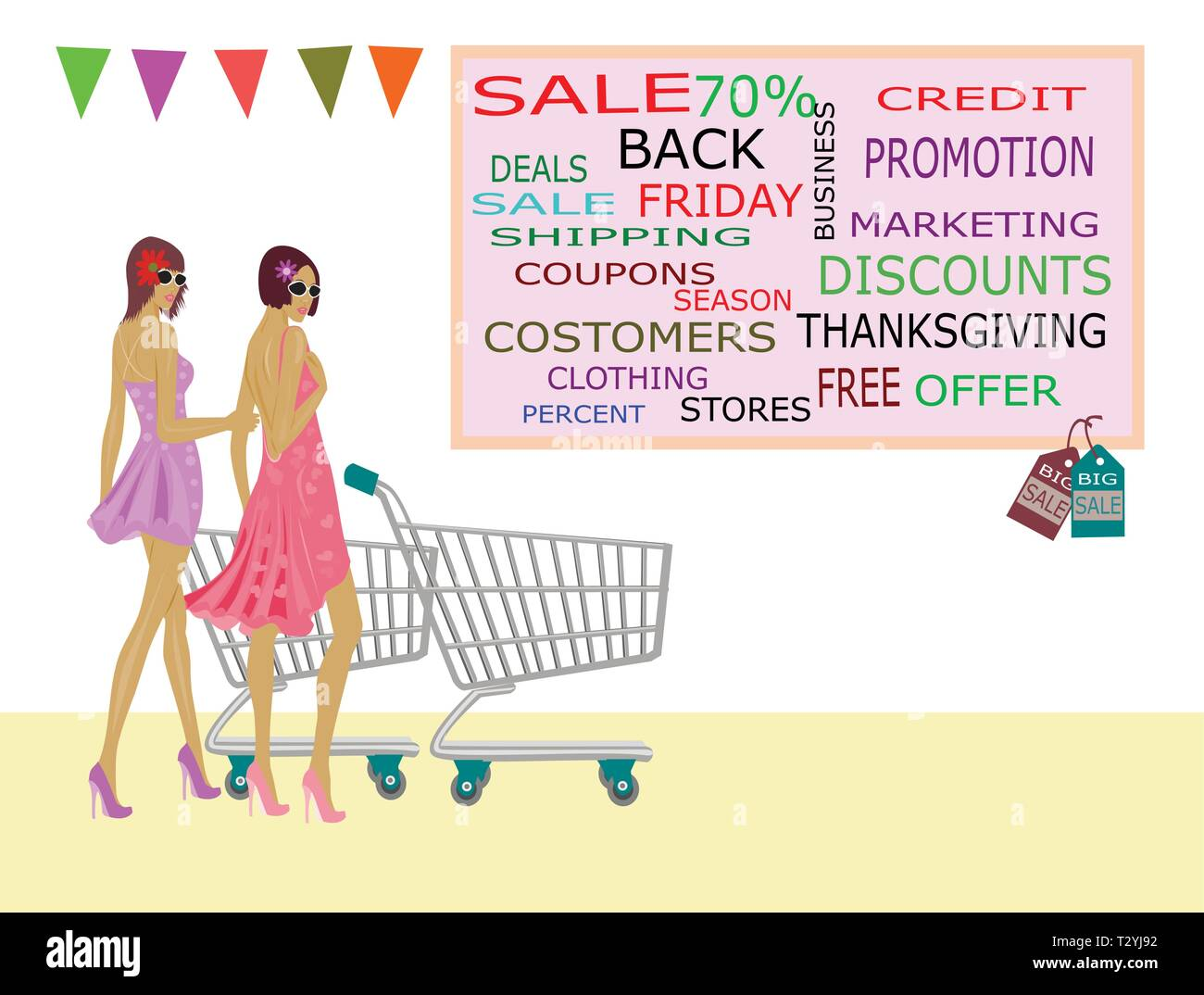 Two women in a skirt and a trolley are going to go shopping. At the mall Because there is a reduction in product prices on white background - Stock Vector