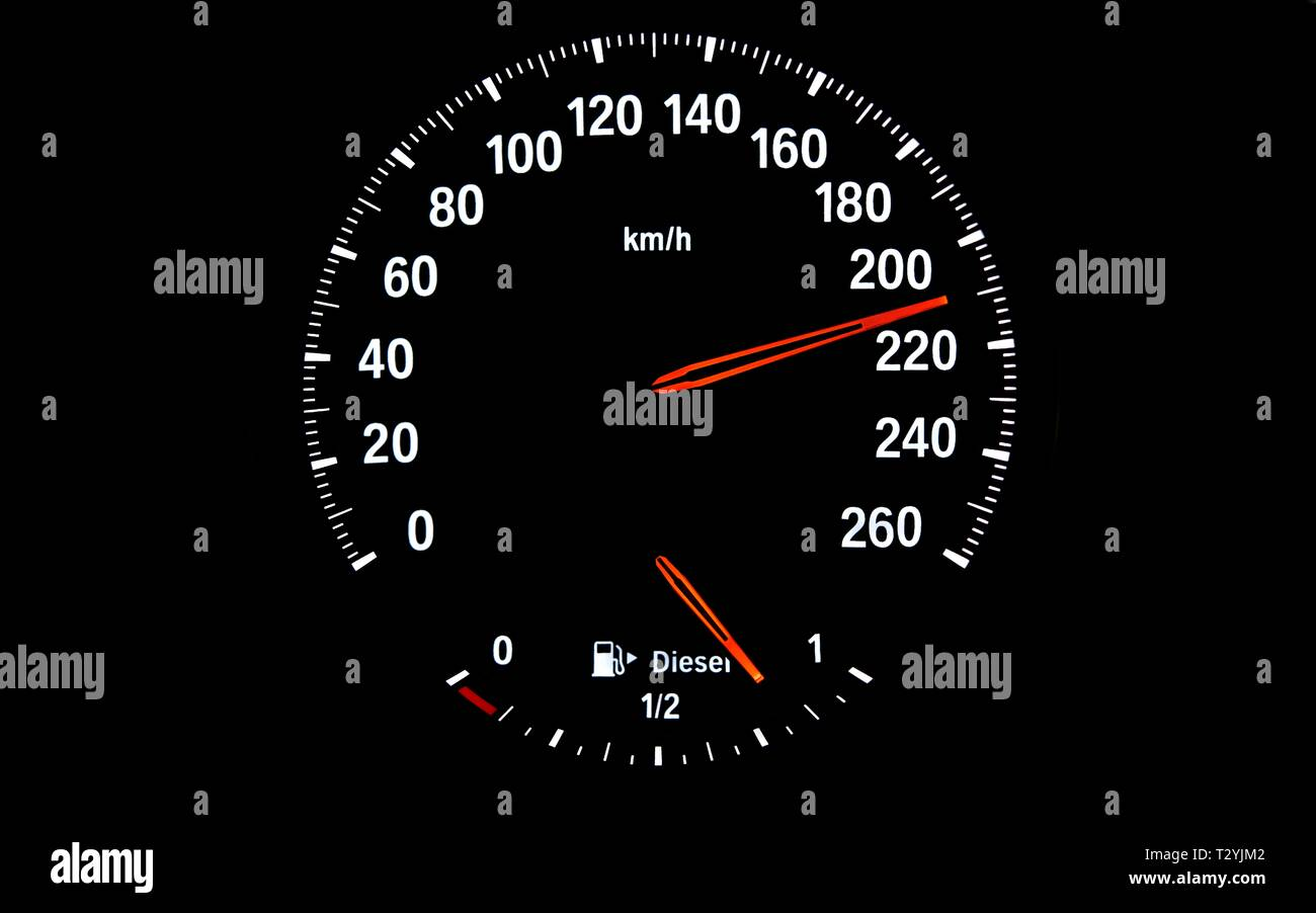 Speedometer with fuel gauge for diesel, speed 210 km/h, symbol image danger due to excessive speed, too fast driving, Germany Stock Photo