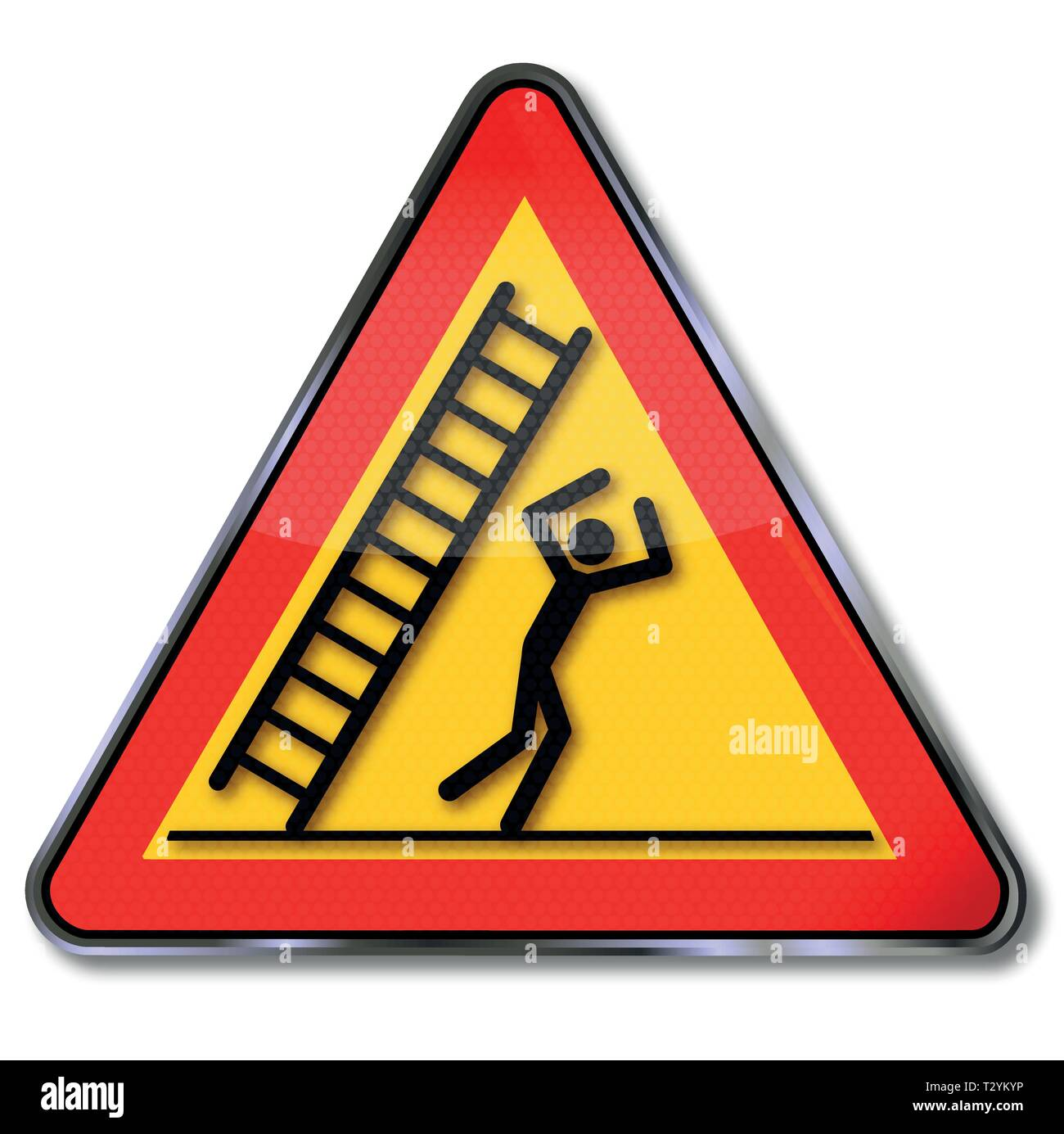 Danger and warning falling ladder and fall on the head - Stock Vector