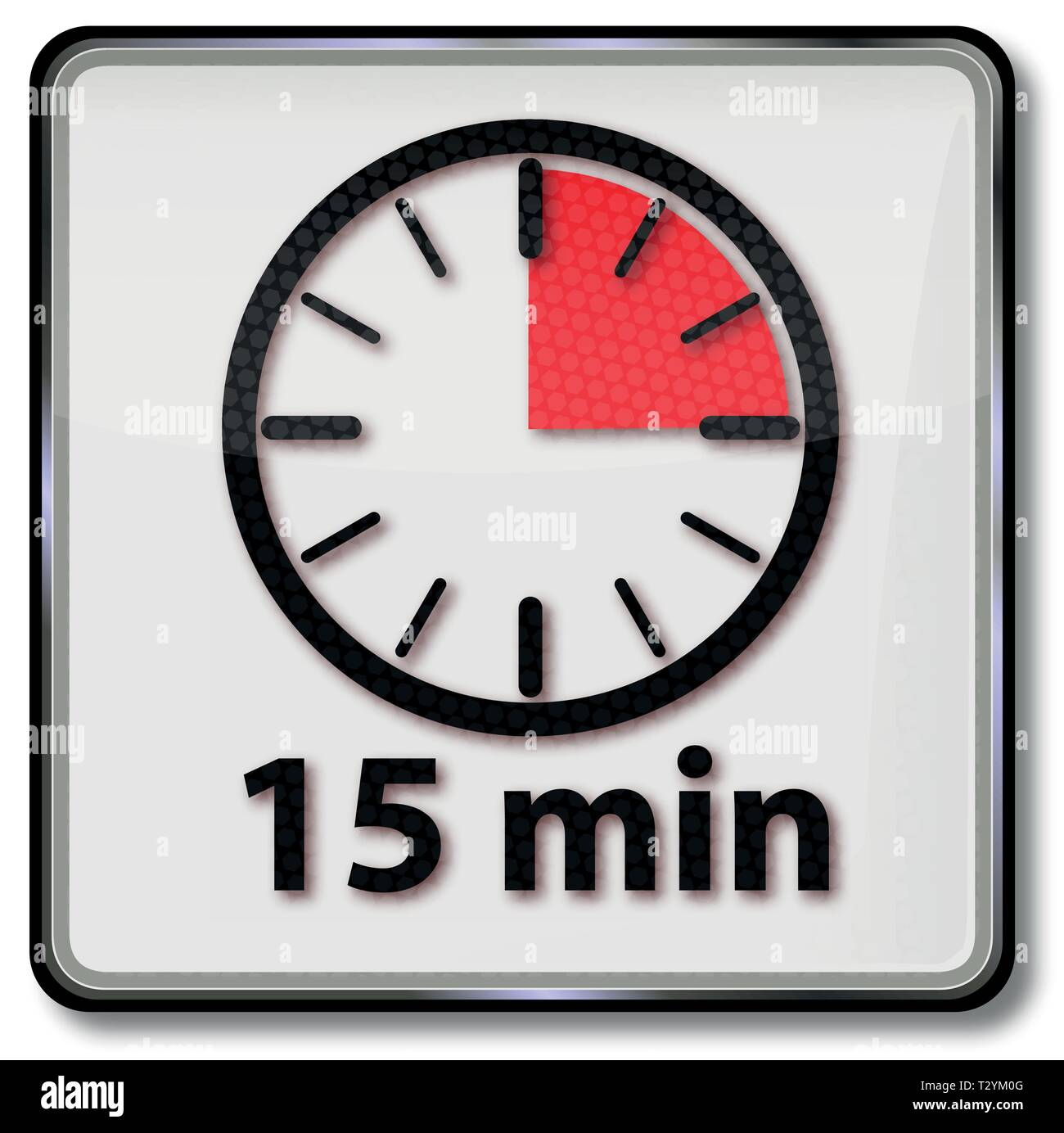 Clock with fifteen minutes of  an hour - Stock Vector