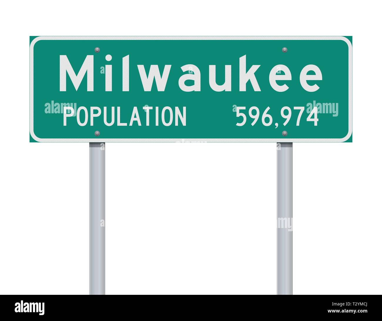 Vector illustration of the Milwaukee Population green road sign - Stock Image