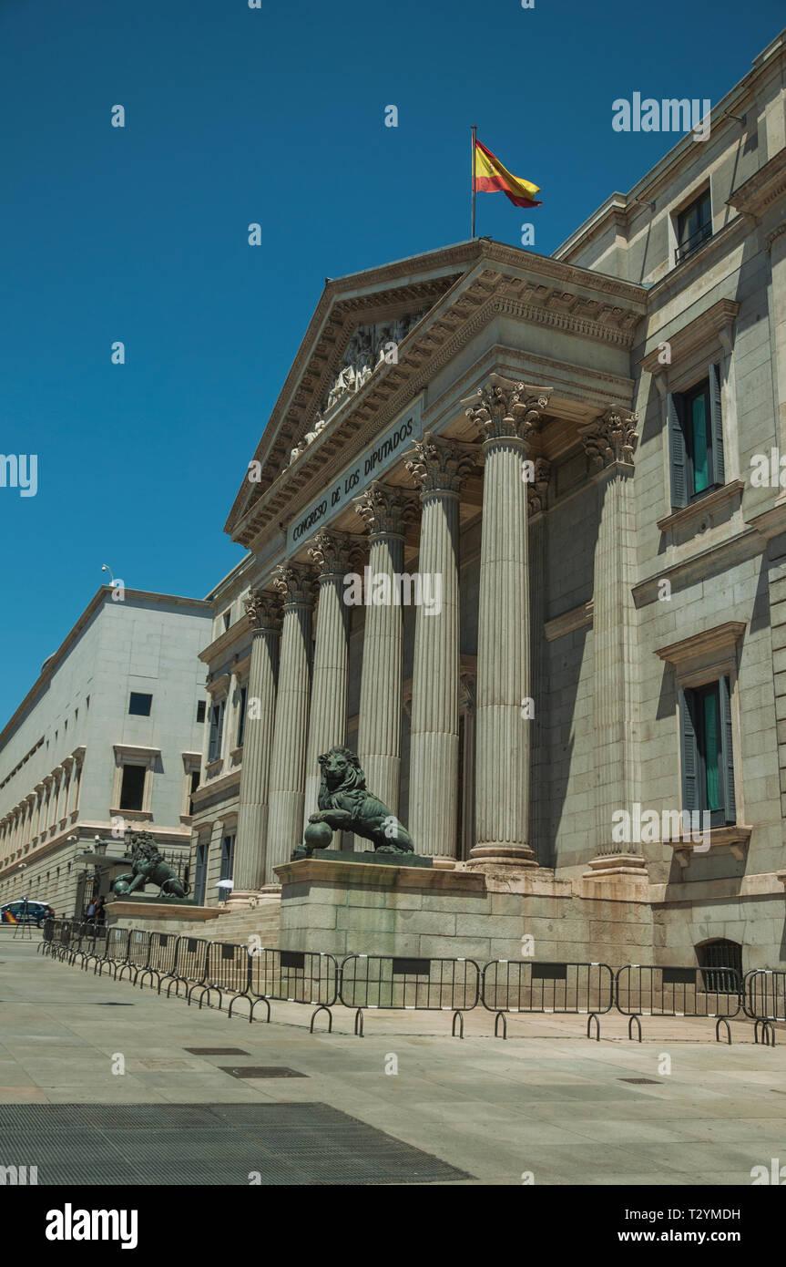 Main Facade Of Palacio De Las Cortes Seat Of The Congress Of