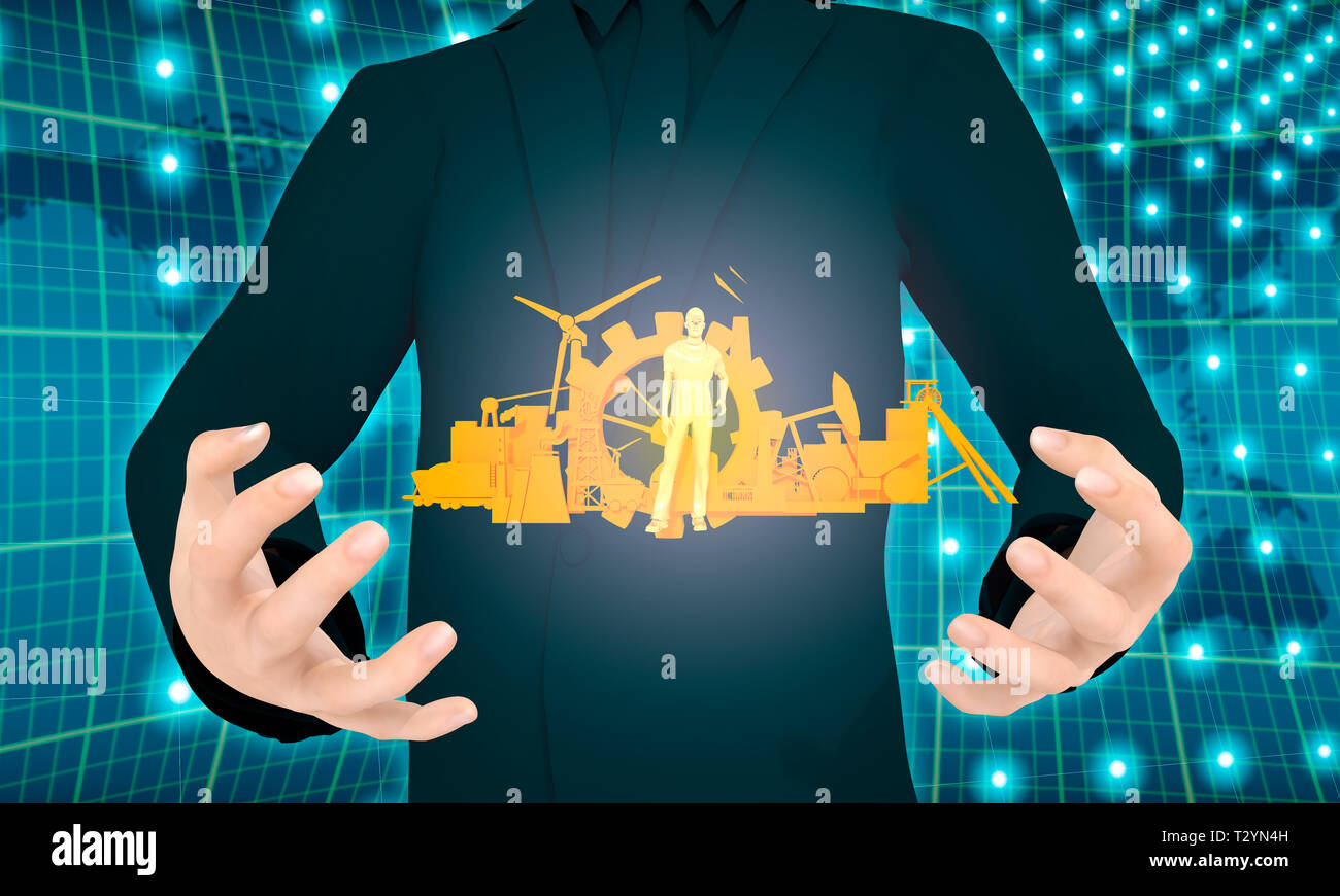 Man holding 3D model of worker and industrial icons set in