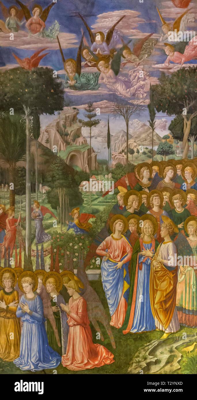 Adoring Angels, North Wall, Fresco cycle,  The Procession of the Magi, Benozzo Gozzoli, 1459-1460, Capella dei Magi, Palazzo Medici Riccardi, Florence - Stock Image