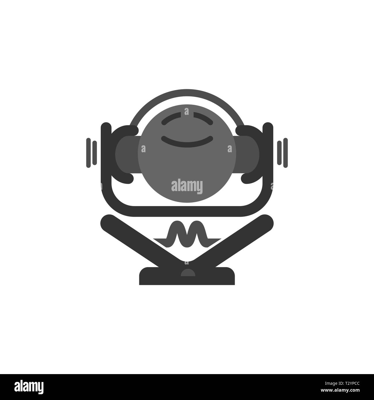 The logo shows a stylised music-lover that is sitting with crossed legs and listening to music. He is really happy and cheerful. - Stock Image