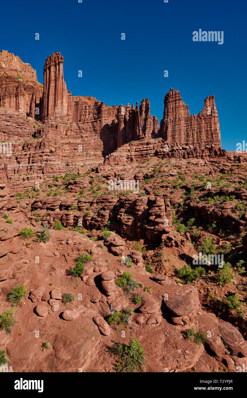 Fisher Towers, Moab, Utah, USA, North America - Stock Image