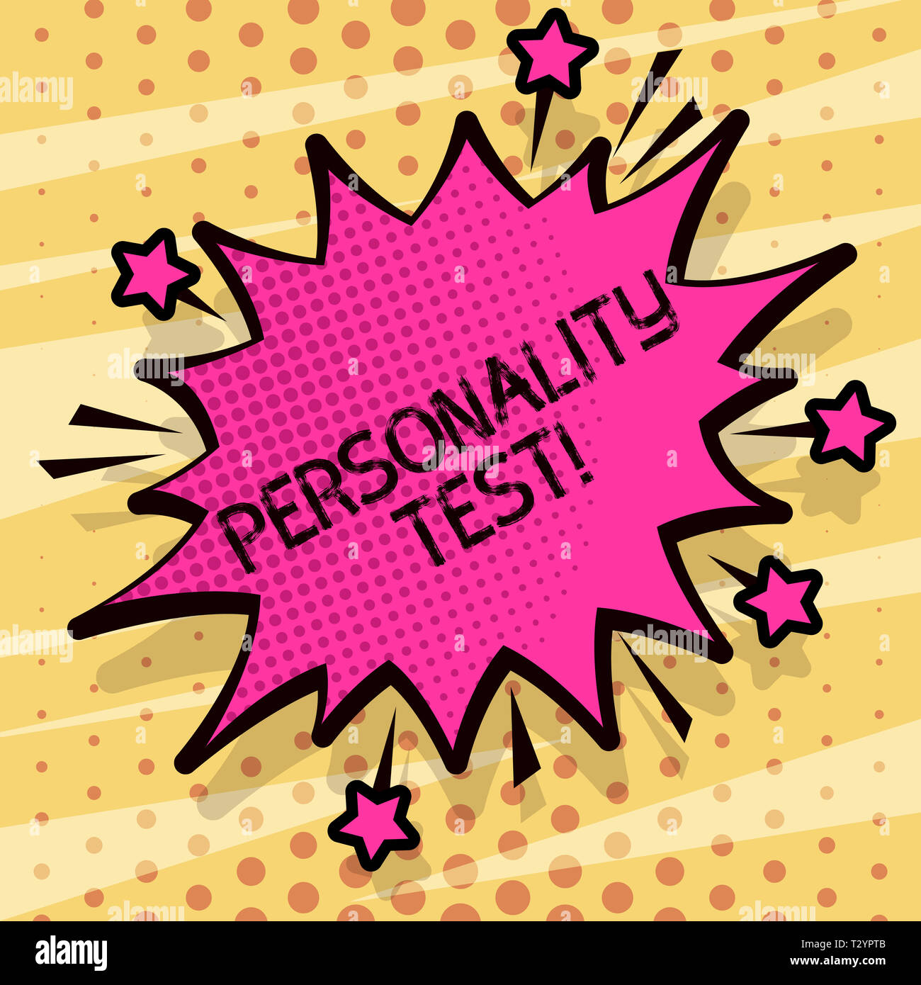 Conceptual hand writing showing Personality Test. Concept meaning method used assessing huanalysis demonstratingality constructs Spiky Fight and Screa - Stock Image
