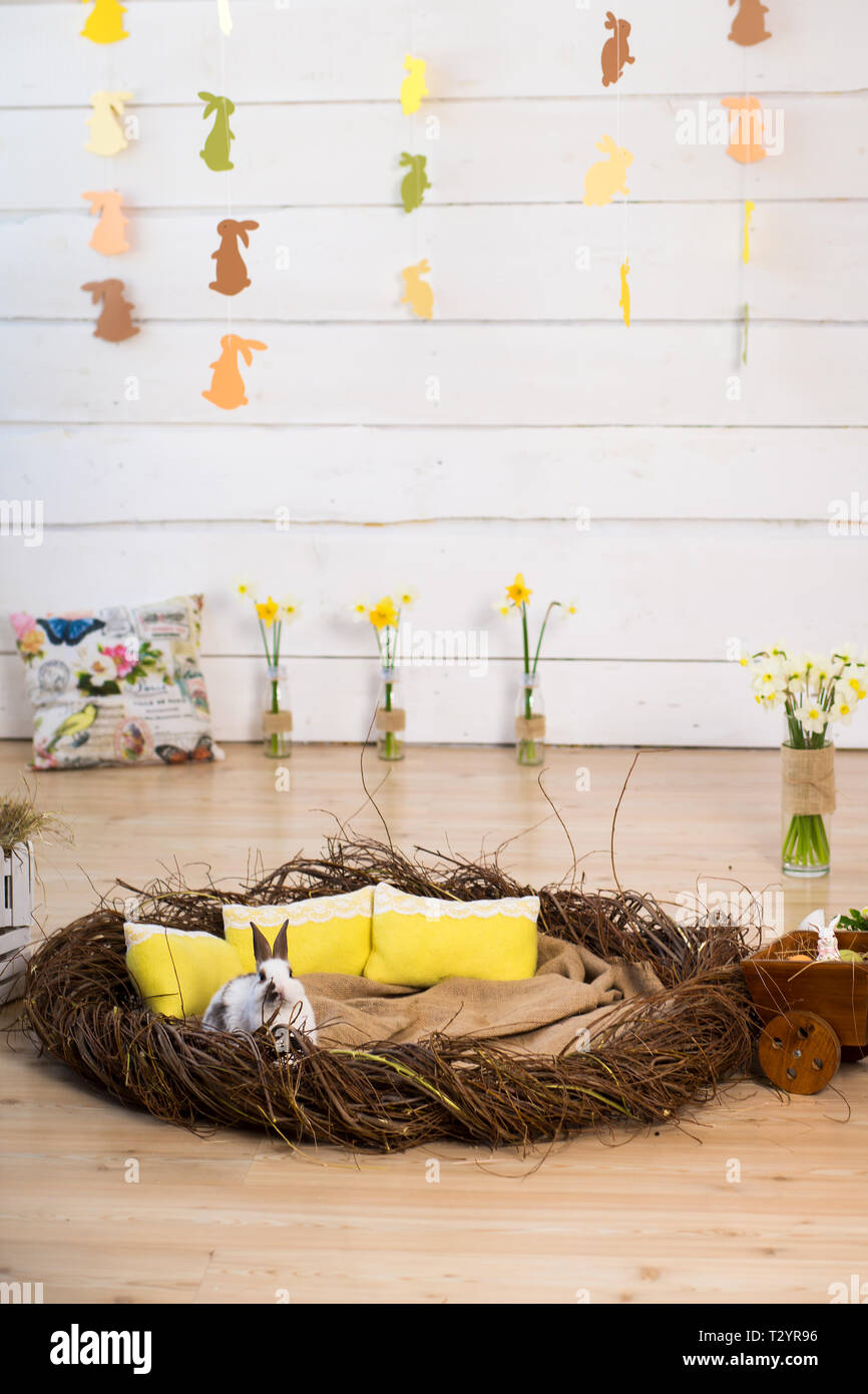 Studio Easter Decorations White Fluffy Easter Bunny Sitting