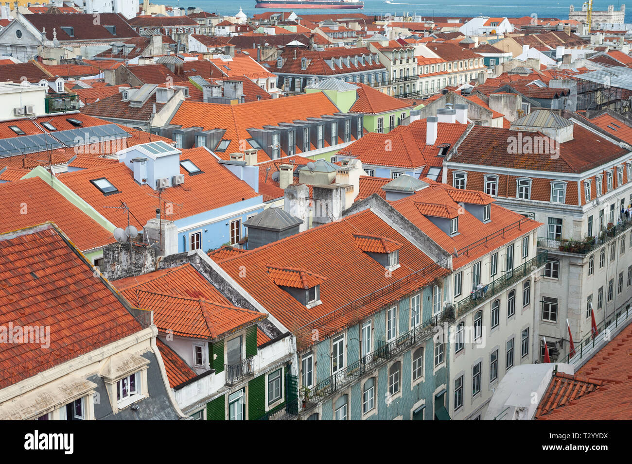 11.06.2018, Lisbon, Portugal, Europe - An elevated view of buildings in the historic city district Baixa. Stock Photo