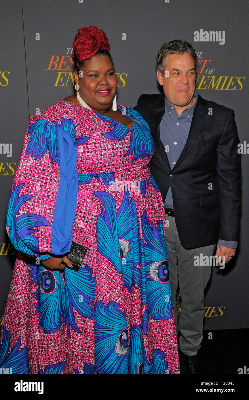 NEW YORK, NY - APRIL 04: Anne-Nakia Green and Robin Bissell attend 'The Best Of Enemies' New York Premiere at AMC Loews Lincoln Square on April 04, 20 - Stock Image