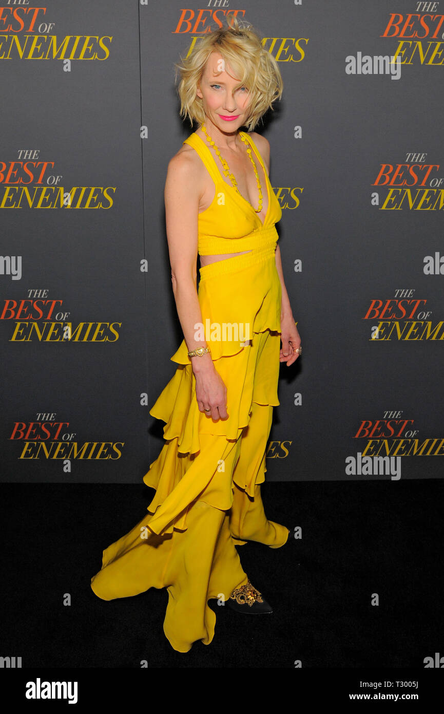 NEW YORK, NY - APRIL 04: Anne Heche attends 'The Best Of Enemies' New York Premiere at AMC Loews Lincoln Square on April 04, 2019 in New York City. - Stock Image