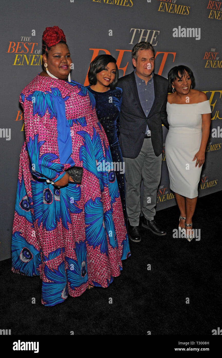 NEW YORK, NY - APRIL 04: Anne-Nakia Green, Taraji p. Henson, Robin Bissell and Dominique Teison attend 'The Best Of Enemies' New York Premiere at AMC  - Stock Image