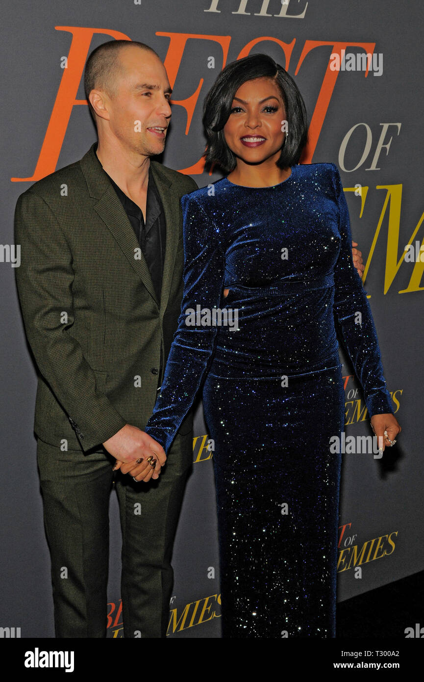 NEW YORK, NY - APRIL 04: Sam Rockwell and Taraji p. Henson attend 'The Best Of Enemies' New York Premiere at AMC Loews Lincoln Square on April 04, 201 - Stock Image