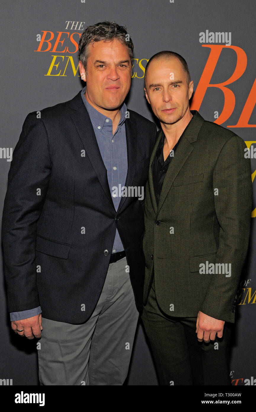 NEW YORK, NY - APRIL 04: Robin Bissell and Sam Rockwell attend 'The Best Of Enemies' New York Premiere at AMC Loews Lincoln Square on April 04, 2019 i - Stock Image