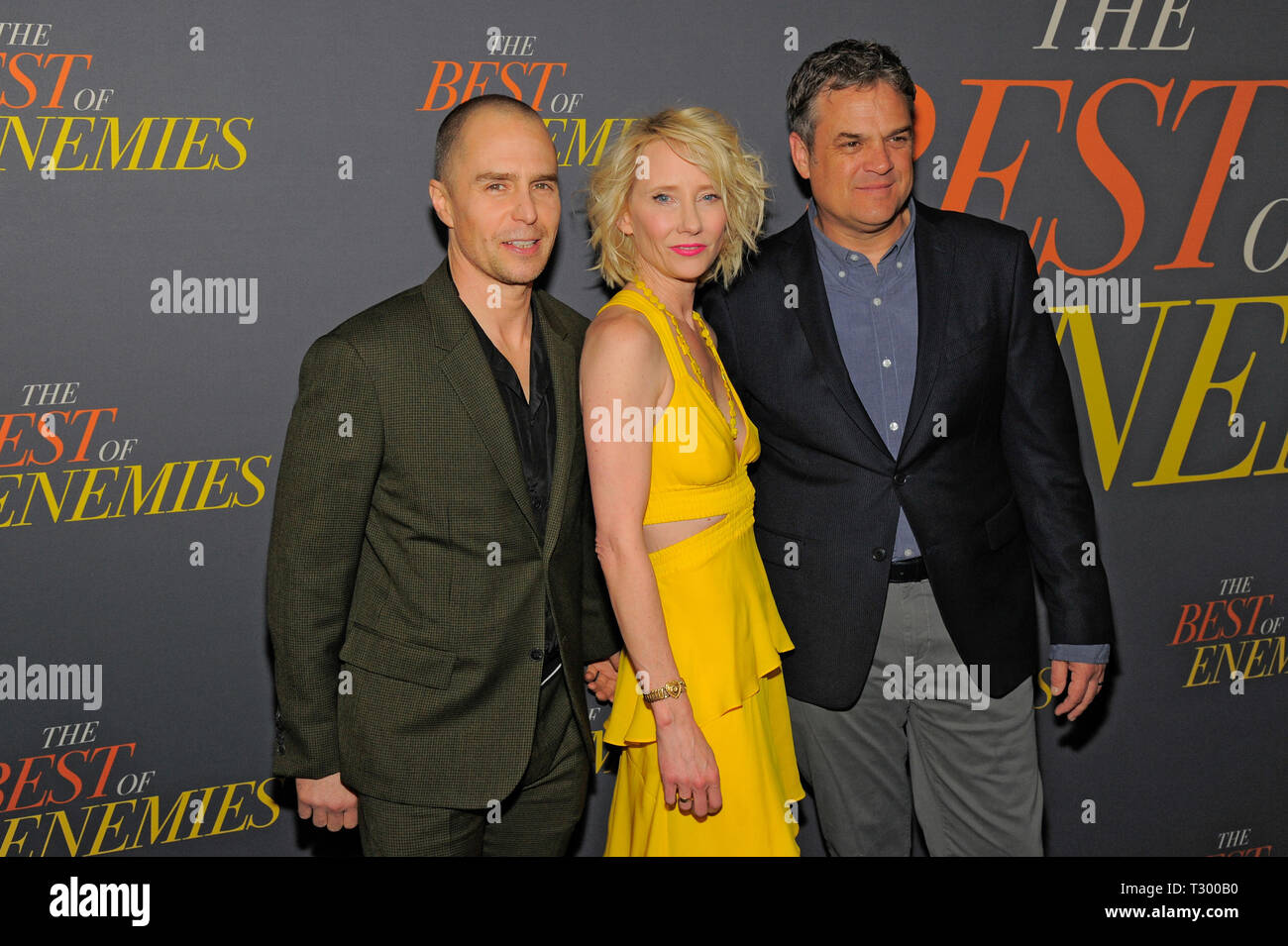 NEW YORK, NY - APRIL 04: Sam Rockwell, Anne Heche and Robin Bissell attend 'The Best Of Enemies' New York Premiere at AMC Loews Lincoln Square on Apri - Stock Image