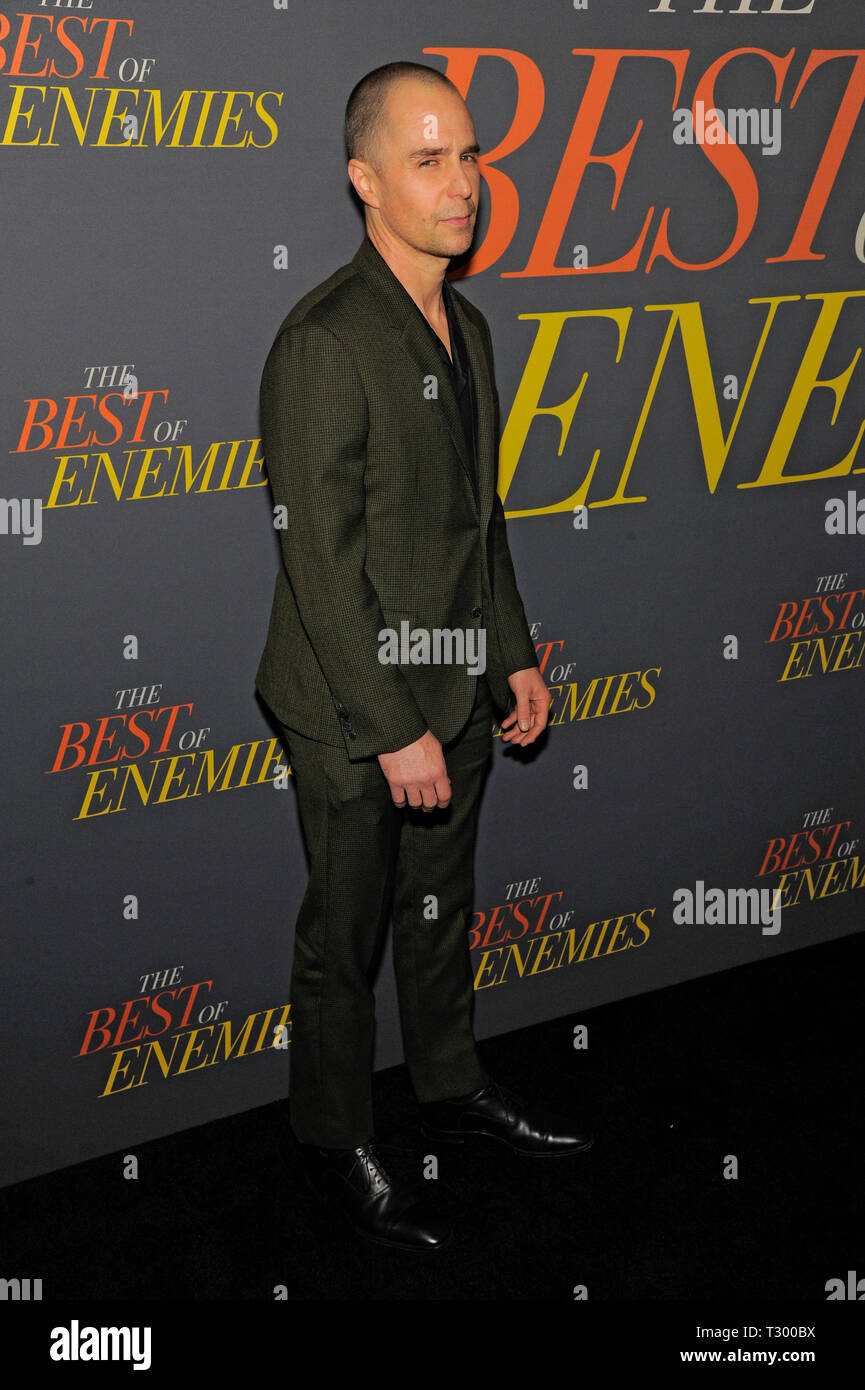 NEW YORK, NY - APRIL 04: Sam Rockwell attends 'The Best Of Enemies' New York Premiere at AMC Loews Lincoln Square on April 04, 2019 in New York City. - Stock Image