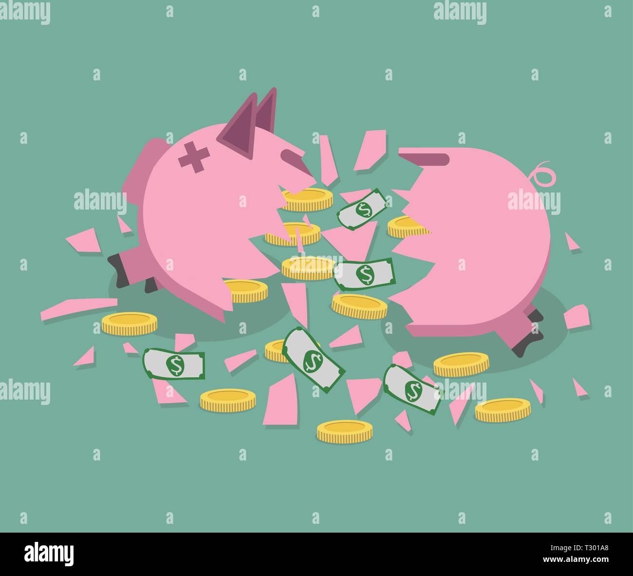 Broken pink Piggy bank with gold coins and dollar bills. vector illustration in flat designsaving money. Vector. - Stock Vector
