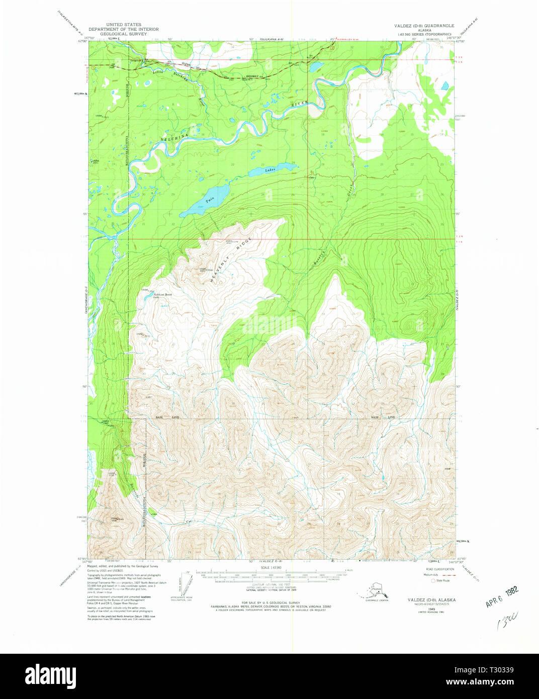 USGS TOPO Map Alaska AK Valdez D-8 360408 1949 63360 Restoration ...